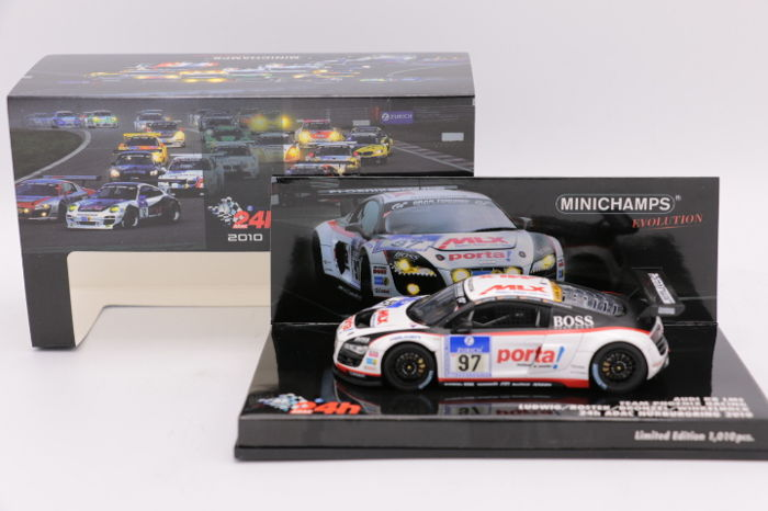 Minichamps - Scale 1/43 - Audi R8 LMS - Black/White - Limited Edition of 1010 pieces