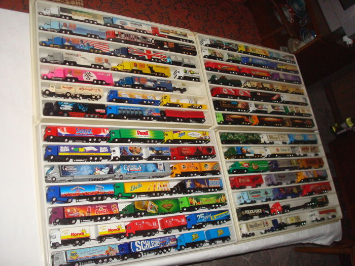 Numerous brands - scale 1/87 - lot of 86 models: Brewery trucks, advertising trucks some vintage trucks and rarities, in collection boxes