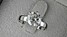 2.13 ct SI1 round diamond ring made of 18 kt white gold - size 7