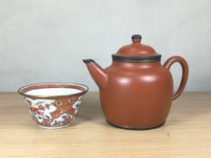YiXing Teapot and Famille Rose Tea Cup - China - 18th/early 20th century