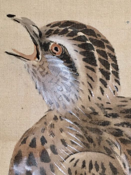 Detailed hand-painted hanging scroll on cloth - 'Quail ...
