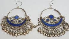 925 silver antique earrings set with lapis and silver pendants, No reserve!!