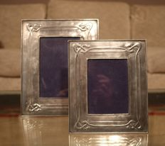 Two pewter Art Nouveau photo frames