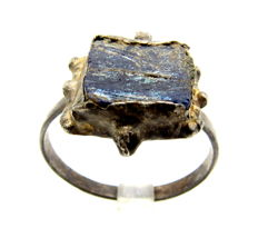 Byzantine Silver Ring with Blue Glass  - Wearable Gift - 19 mm