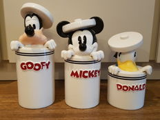 Disney, Walt - 3 Storage jars - Mickey + Donald + Goofy