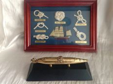 Vintage model of submarine Isaac Peral in bronze and Maritime Artwork