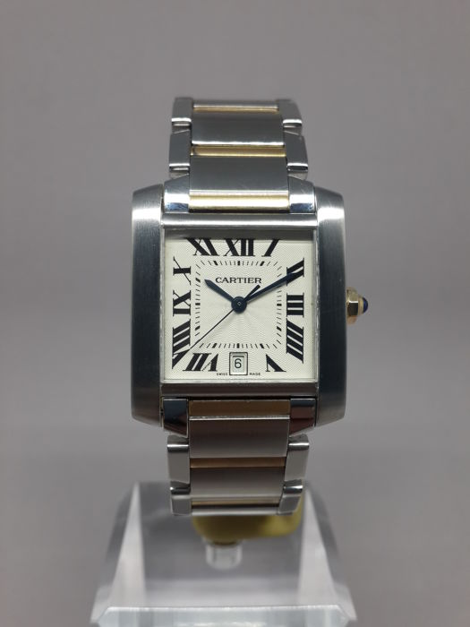 2973ac8b735 Cartier Tank Francaise Gold Steel Automatic Large Date Ref. 2302- Mens  Wristwatch - Catawiki