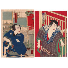 Two separate original woodblock prints by Toyohara Kunichika (1835-1900) - Both representing the Kabuki actor Ichikawa Sadanji - Japan - 1880/1895