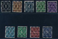 Allied occupation - 1948 - numeral series with posthorn overprint doubled net, Michel I-IX DD with Schlegel photo attest