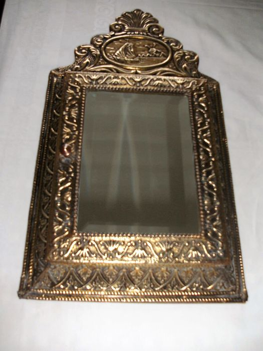 Beautiful Antique Century Furniture Dining Room Table And: Beautiful Antique Hallway Mirror With Brush Box And Facet