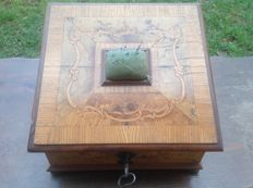 An unusual Rococo walnut marquetry sewing box, German, 18th century with possible 19th century alterations