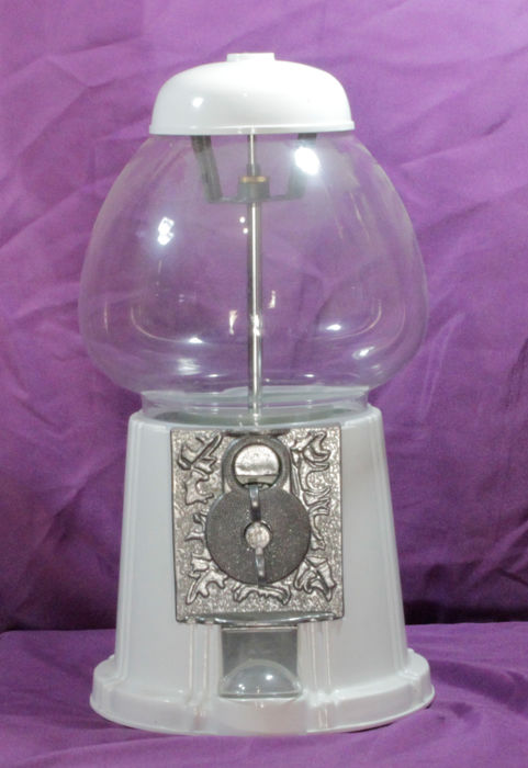 Gum ball machine from late 20th century in metal and glass, large model