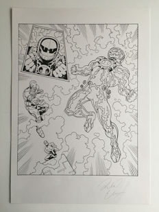 Original Art Splash Page By Richard Elson  - Pen & Ink - Spider-Man : Tower Of Power #16 - Page 7 - (2008)