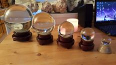 Beautiful Set of 5 Bright Reconstructed Quartz Spheres