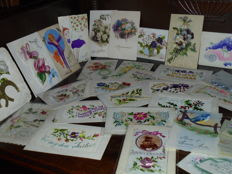 Embroidered handmade fantasy cards - 35 various cards - period c. 1920