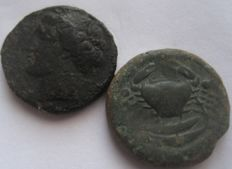 Greek Antiquity - Sicily. Syracuse and Akragas, BRONZE  AE 20 and AE 19