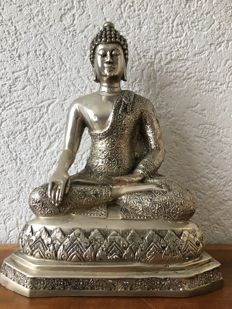 Silver plated brass Buddha sculpture - Thailand - end 20th century (35 cm)