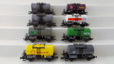 Fleischmann H0 - 5410/5411/5412/5414/(84/85)5415/5416 - Goods wagon - 8 tank wagons of  including Esso, Shell, BP, EVA and VTG - DB, DR (DDR)