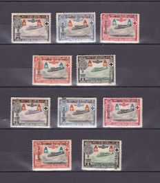 Spain 1927 – 25th Jubilee of Alfonso XIII. Lot of sample varieties - Edifil 363/4 m/ma, 367 m/ma, 370/1 m/ma.