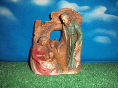 Nativity scene with Mary, Jesus, Joseph, the donkey and the ox