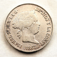 Spain - Isabel II - 1 escudo in silver - 1867 - Madrid