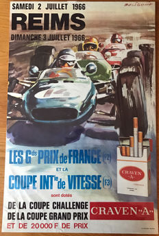 1966  Grand  Prix Reims Circuit original poster Beligond Artwork.
