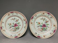 A pair of 18th C Famille Rose Chinese Export plates