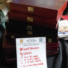 Accessories - 7 Coin cases - 12, 24, 36 Compartments for coins - Wood with felt.