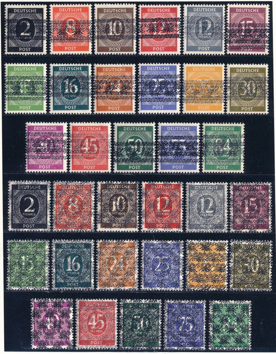 Allied Occupation - Germany (American and british zone) 1948 - Numeric series with postal squirrel overprint network and Band doppelt, Michel 52/68I/ II DD mit Fotoattest