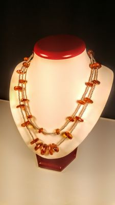 Long silver 925 and 100% Genuine faceted flat beads Baltic Amber necklace, length 100 cm, 41 grams
