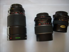 Three objectives for Pentax reflex cameras or compatible with Pentax