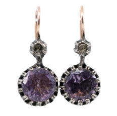 Earrings featuring Amethysts and Rose Cut Diamonds in 9k Gold and Silver.