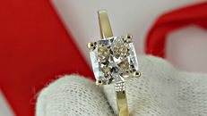 1.20 ct VS1 cushion diamond ring made of 14 kt yellow gold - size 6.5