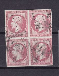 France 1859 - Yvert 17B in block of 4, cancelled, signed and PDF from Calves