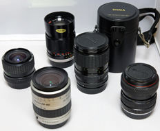 3 original and 2 non-original Pentax Zoom lenses
