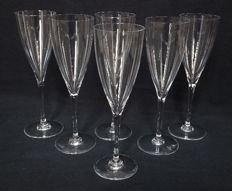 Baccarat, 6 water glasses or crystal champagne flutes, Dom Perignon model - 22.6 cm