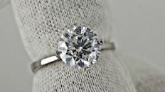2.02 ct E/SI1 round diamond ring made of 18 kt white gold *** NO RESERVE PRICE ***