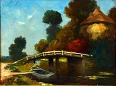 Gerts Stegeman ( 1858 - 1940) - Hollands Landschap met brug over vaart, roeiboot en hooiopper