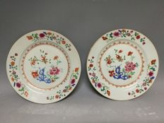 A pair of 18th c Chinese export  Famille Rose plates>