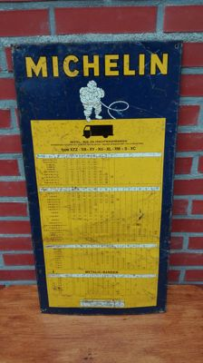 Michelin tyre pressure table / advertising board Bibendum