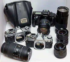 Lot containing Canon SLR and FD lenses for the handy repairman