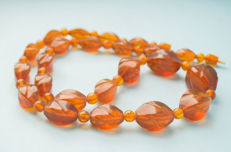 Vintage Baltic Amber faceted necklace old honey butterscotch cognac colour, 62 gram