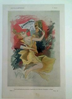 Art Nouveau - Jules Chéret - advertising Le Courrier Francais, 1899 Original chromo-lithograph print from Pluma y Lapiz