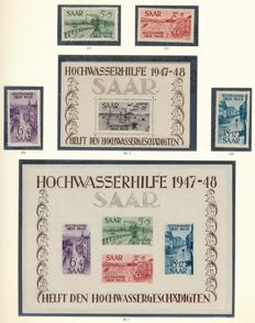 Saarland  - 1947 – 1959 - complete collection with Block 1 & 2 verified Ney BPP and OPD Saarbrücken and official stamps in Borek album