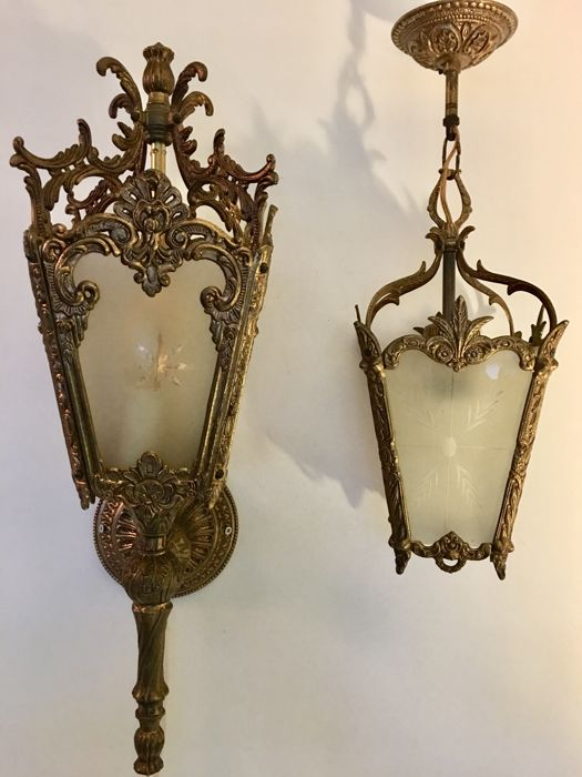 2 brass lantern lamps with etched (matted) glass in Louis XVI style