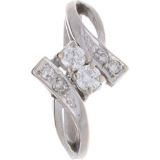 14 kt white gold ring set with diamond, ring size: 17.75