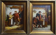 Flemish school. (19th century) - A pair of tavern scene with figures