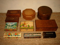 Ten antique and vintage wooden boxes and chests