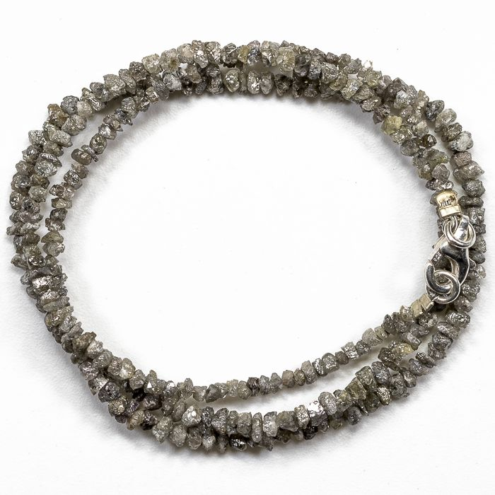 23.50 ct Bracelet or Necklace with Grey Shade  Rough Diamonds - 16 inches