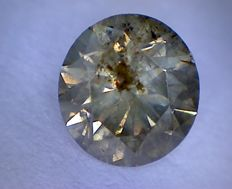 Diamond - 1.00 ct - Brilliant cut - Intense Brown I1